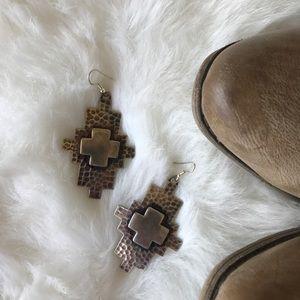 Jewelry - •new• western cross earrings