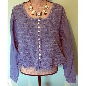 Vintage Denim Peasant Shirt Top Stretch Crop plus