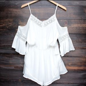 Boho playsuit : Wilde Heart White Romper
