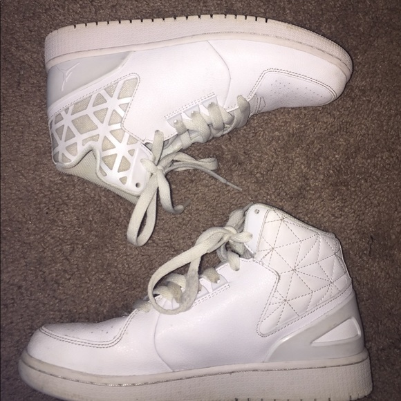 Jordan Shoes - All white Nike Jordan high top sneakers eace5a0fa6