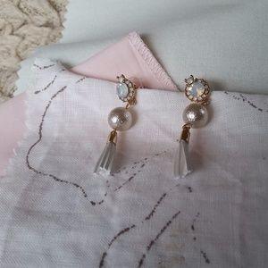 Rhinestone, Bead and Tassel Earrings