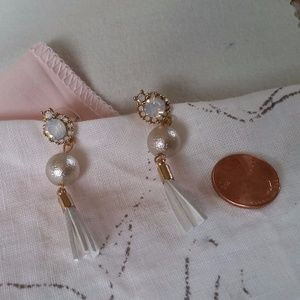 Jewelry - Rhinestone, Bead and Tassel Earrings