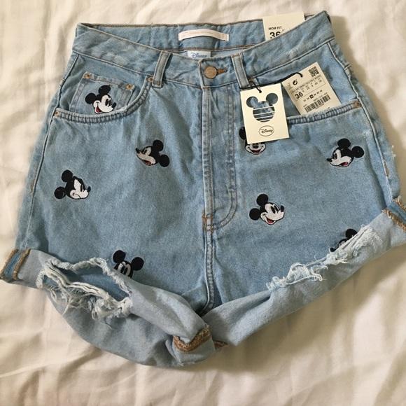 89e4188f22 Zara Mickey Denim Mom Fit Shorts Size US 4/ EUR 36 NWT