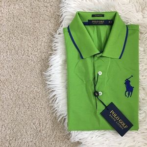 • Ralph Lauren Lime Green & Navy Polo Golf Shirt •