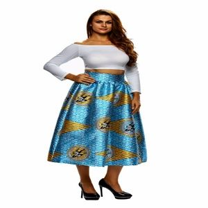 Dresses & Skirts - Lacing Decorated African Print Pleated Skirt