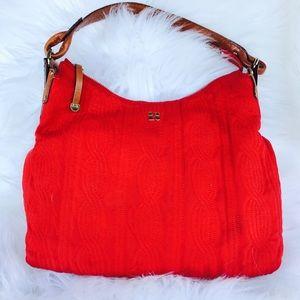 Kate Spade Red Canvas and Letaher Handbag.