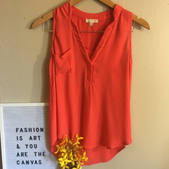 Gianni Bini Tops - Gianni Bini Orange Split Front Tank