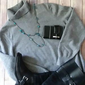 Lands' End Gray Turtleneck Sweater