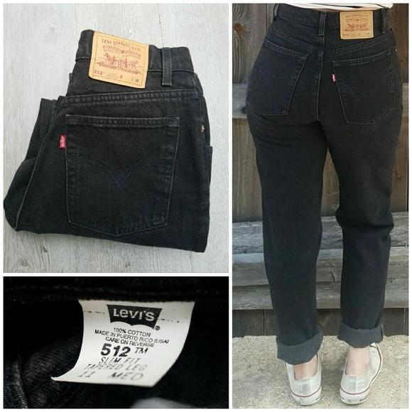 Levi S Jeans Vintage Levis 512 Black Slim Tapered Mom Poshmark