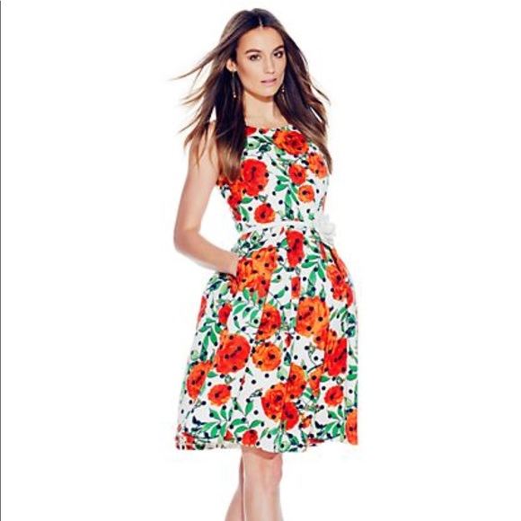 New York /& Company Floral /& Dot Print Flare Dress New with Tags
