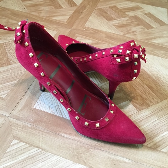 3578313dcb00 ELLE Shoes - ELLE red studded bow point toe suede pump heels