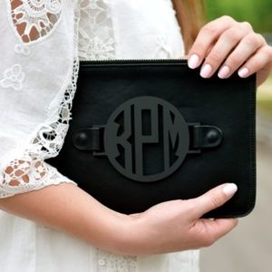Changeable Grateful Caroline monogram black clutch