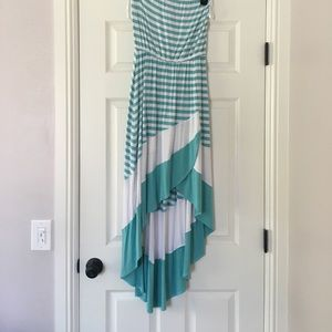 Striped high low dress by Bebe. Worn only once.