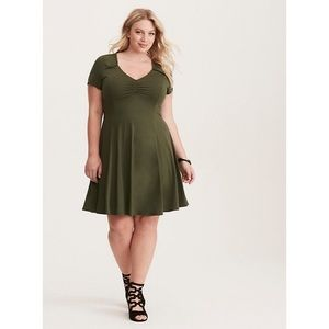 Olive Cinched Front Jersey Fluted Skater Dress