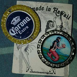 Mermaid beer bottle cap earrings aloha corona BNWT