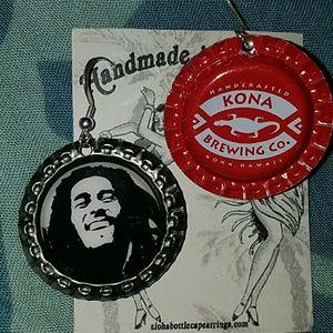 Bob Marley beer bottle cap earrings kona brewing c