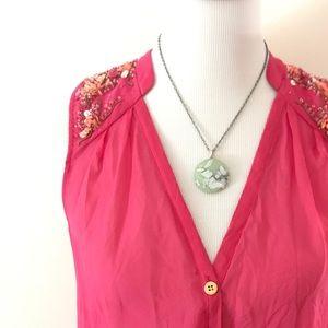 Hot Pink Hi-lo Silk Beaded Tunic by Leifsdottir