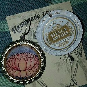 Lotus flower beer bottle cap earrings Stella BNWT