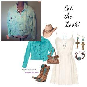 Jackets & Blazers - Turquoise Jean Jacket Plus Size XXL 20