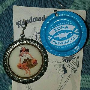 Hula girl beer bottle cap earrings kona brewing co