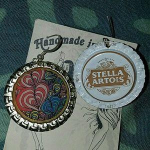 Heart beer bottle cap earrings aloha stella artois