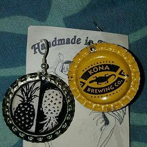 Pineapple beer bottle cap earrings aloha kona brew