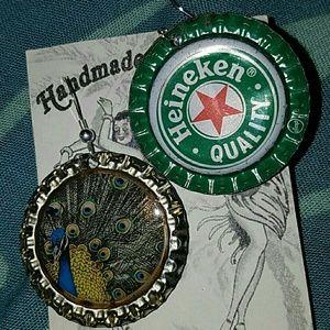 Peacock beer bottle cap earrings aloha Heineken br