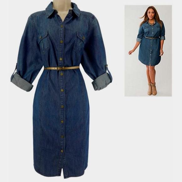 ba8a53822a4 Lane Bryant Dresses   Skirts - Lane Bryant Denim Shirt Dress Blue Jean 26 26