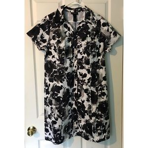Lane Bryant Shirt Dress Floral 18 Plus Size Black
