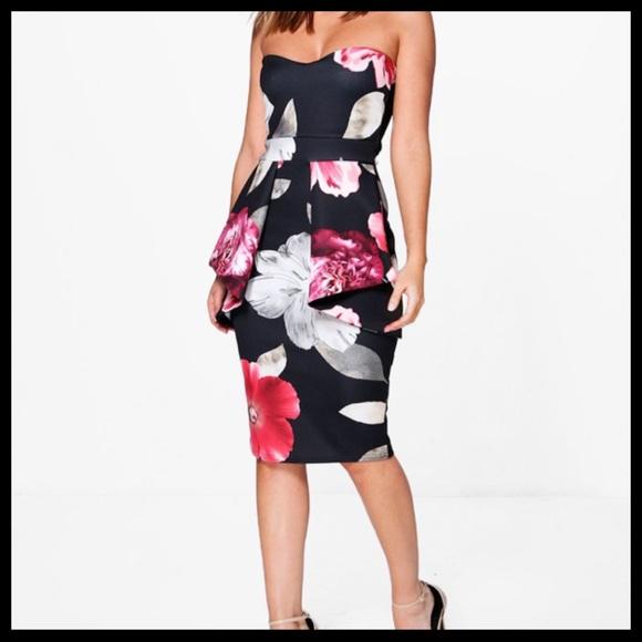 Boohoo Dresses & Skirts - 💕FINAL SALE💕 Boohoo Night Floral Peplum Dress
