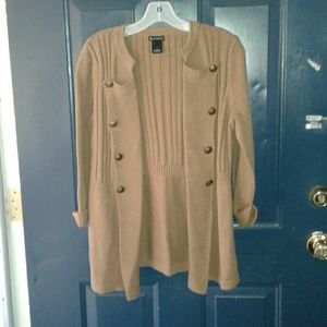 NEW DIRECTIONS RUST OPEN CABLE KNIT CARDIGAN
