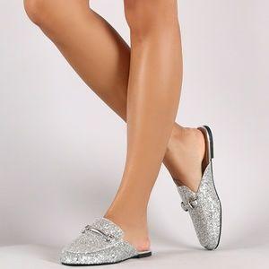 Shoes - Encrusted Glittery Horsebit Slip On Mule Flat