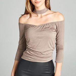 Tops - Just in❣Deep Khaki Off-Shoulder Choker Top