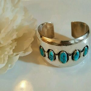 Vintag Sterling and Turquoise Cuff Bracelet