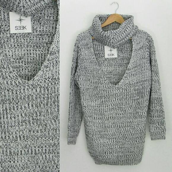4ffdeb67ff NWT LF SEEK The Label Gray Choker Sweater