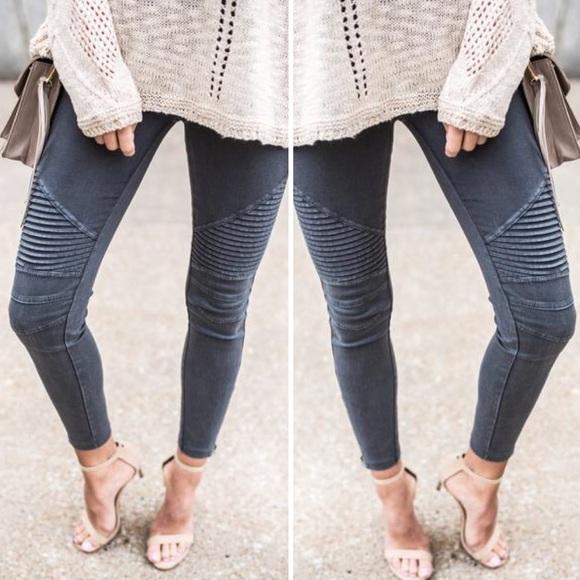 Jennifer's Chic Boutique Pants - ❤️LAST ONE❤️Grey Charcoal Moto Jeggings