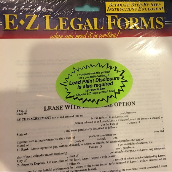 EZ Forms Other Lease With Purchase Option Forms Poshmark - Ez legal forms