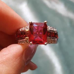 Jewelry - NWOT - Ruby Spinel Garnet White Sapphire