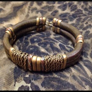 """Jewelry - Bracelet Leather and metals 9"""""""