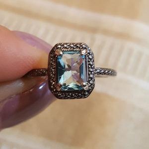 Jewelry - NWOT - Blue Topaz-Diamond-Wgp Ring