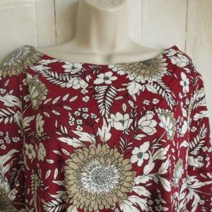 Karen Scott Blouse Floral Plus Sz 1X 2X 3X Red