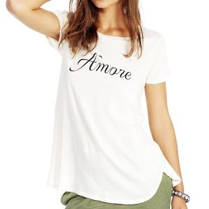 Amore Graphic TEE Vintage T-Shirt Top Curved Hem