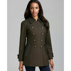 New! DKNY Military Coat Jacket Peacoat Wool-Blend