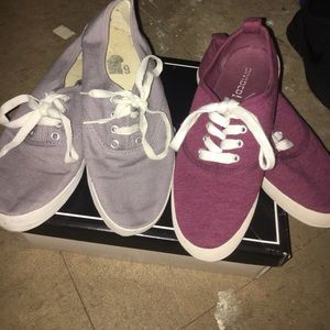 LOWEST Two Pairs Of Sneakers Burgundy & Grey Sz. 6