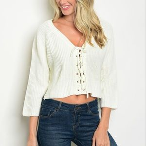 NEW | Crop Top Lace Up Sweater