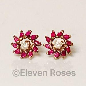 Jewelry - 14k Gold Ruby Stud Earrings Enhancers Jackets