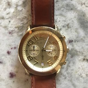 Michael Kors Camel Leather Band Gold Face Watch