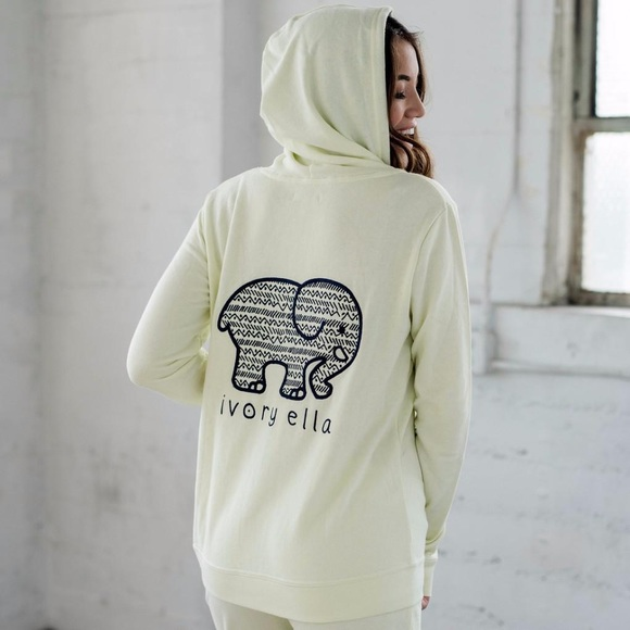 6fb6a9df64e2 Pale Mint Yellow Ivory Ella embroidered hoodie nwt