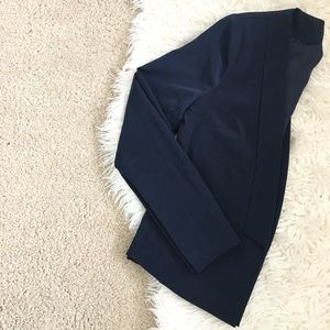 • F21 Navy Blue Collarless Blazer •
