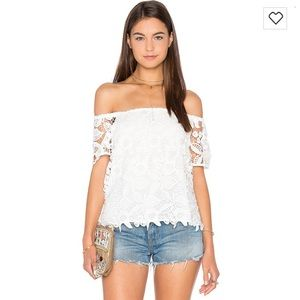 Wayf Off Shoulder Top in White Crochet